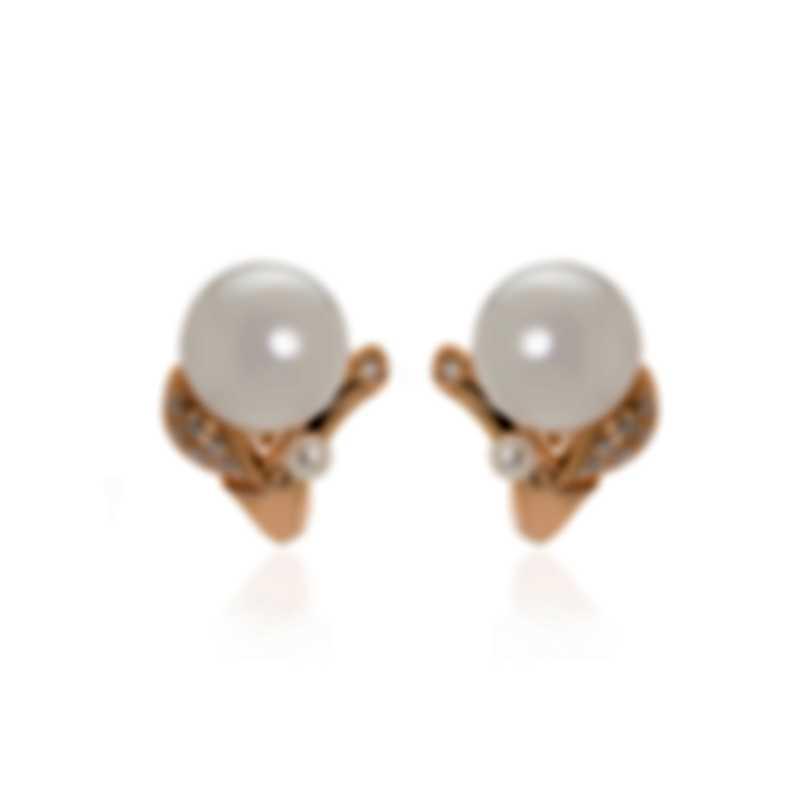 Mikimoto 18k Rose Gold Diamond 0.27ct And White South Sea Pearl Huggie Earrings