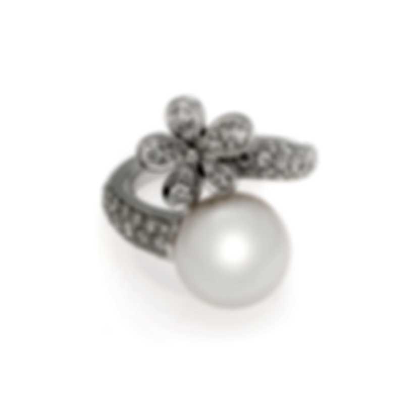 Mikimoto 18k White Gold Diamond 0.90ct And South Sea Pearl Cocktail Ring Sz 6.5