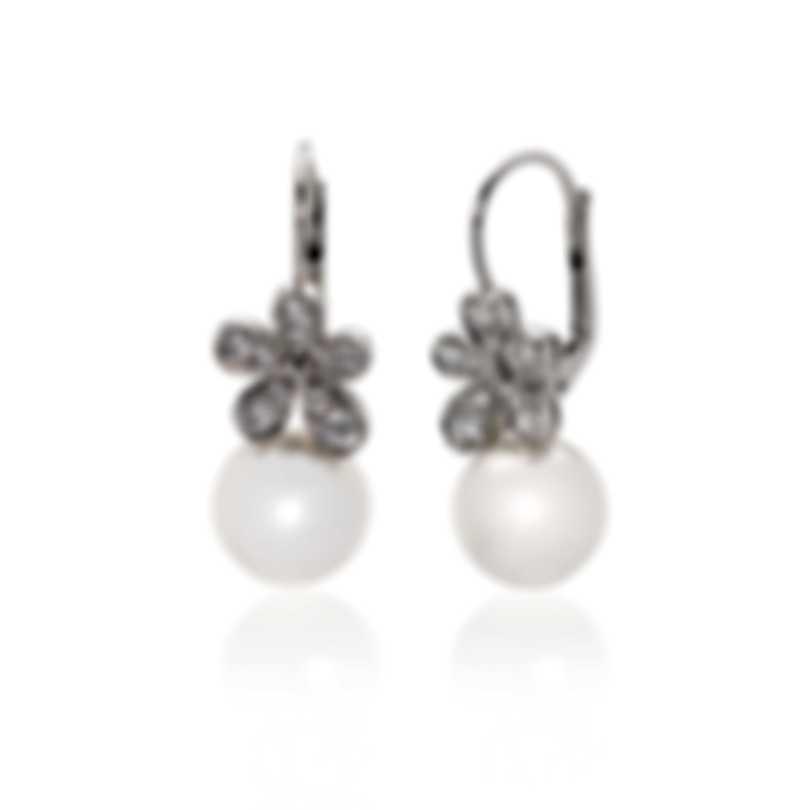 Mikimoto 18k White Gold Diamond 0.60ct And White South Sea Pearl Drop Earrings