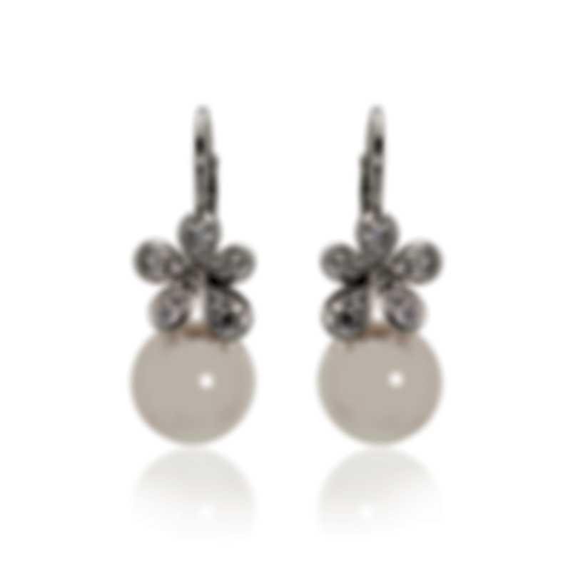 Mikimoto 18k White Gold Diamond 0.60ct & White South Sea Pearl Drop Earrings