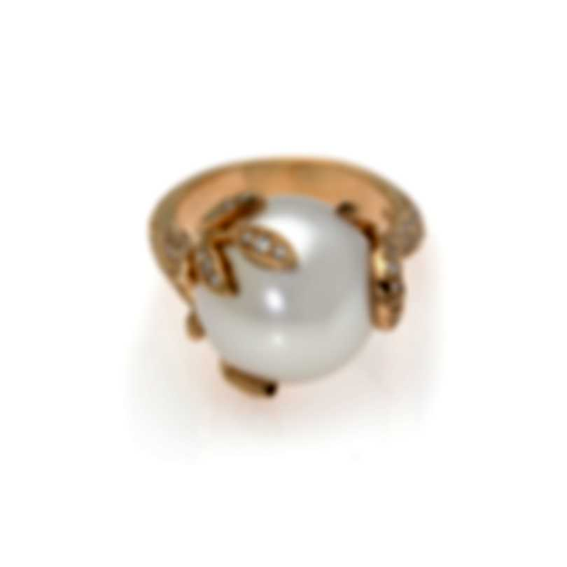 Mikimoto 18k Rose Gold Diamond 0.52ct & South Sea Pearl Cocktail Ring Sz 6.25