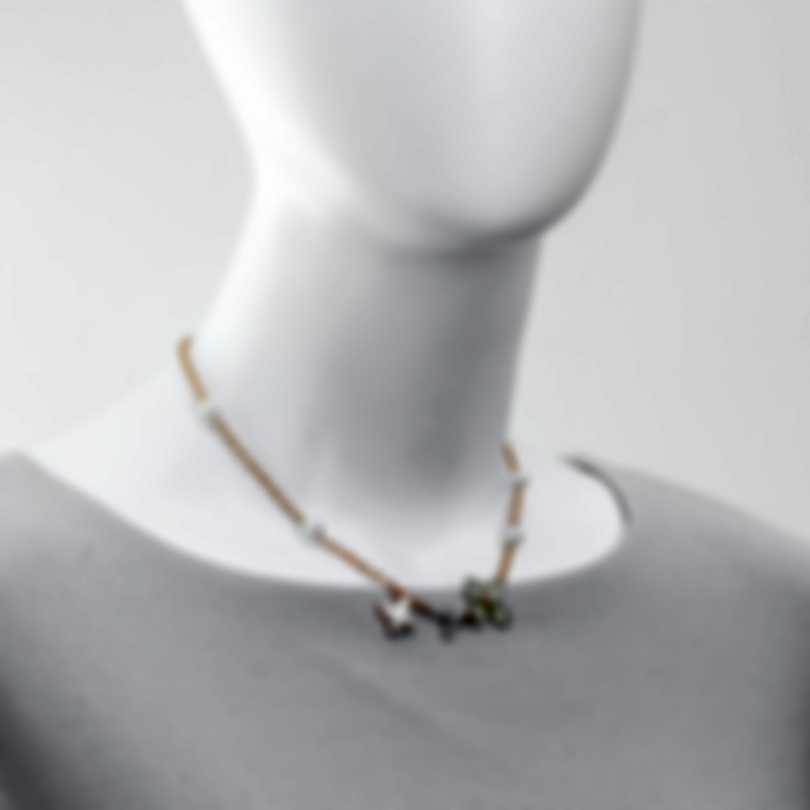 Mimi Milano Freevola 18k Rose Gold Diamond 0.15ct And Pearl Necklace CX900R1D7B