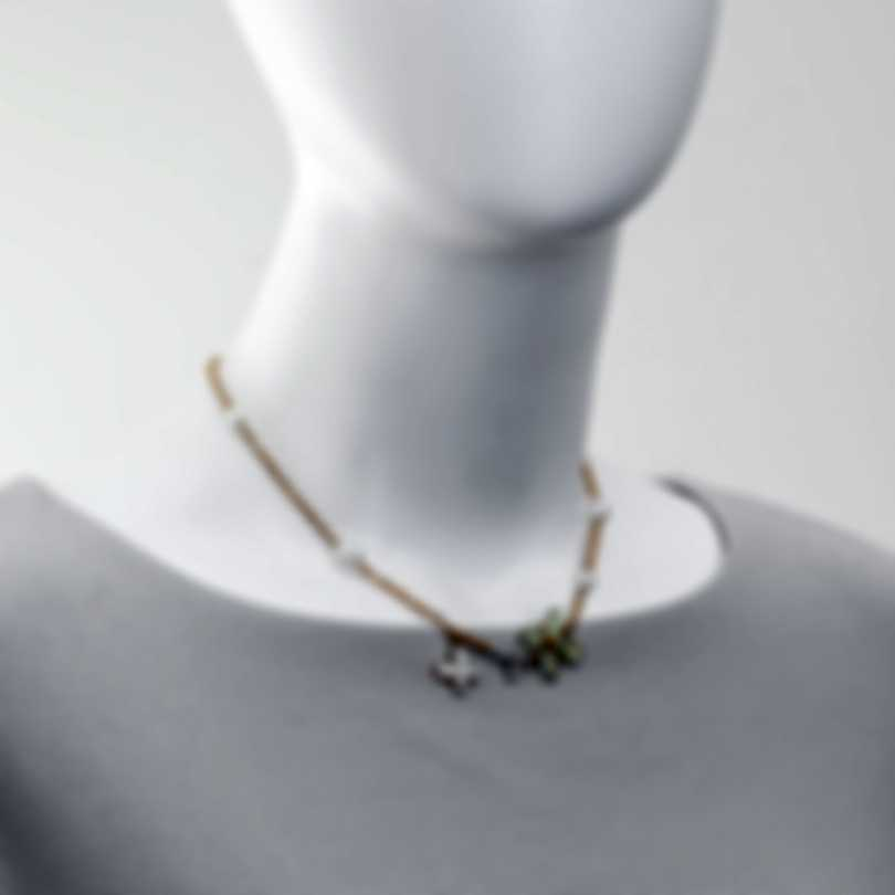 Mimi Milano Freevola 18k Rose Gold Diamond 0.15ct And Pearl Necklace CX900R1D7MB