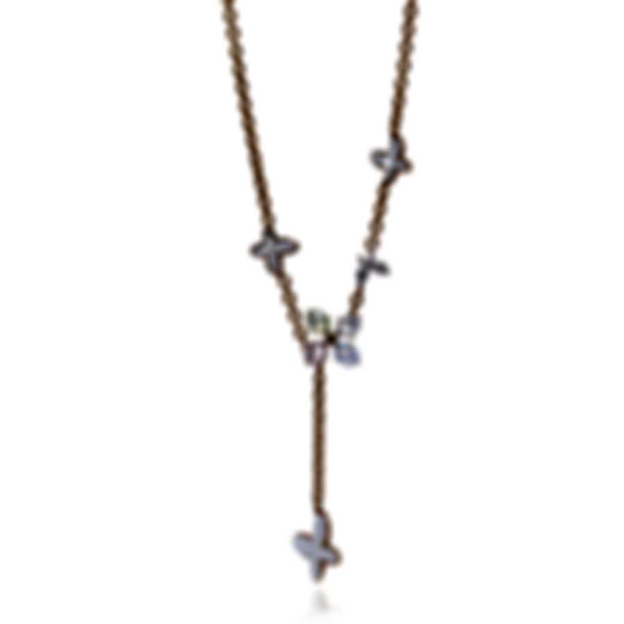 Mimi Milano Freevola 18k Gold Diamond .15ct And Prehnite-MOP Necklace CX901R8XB