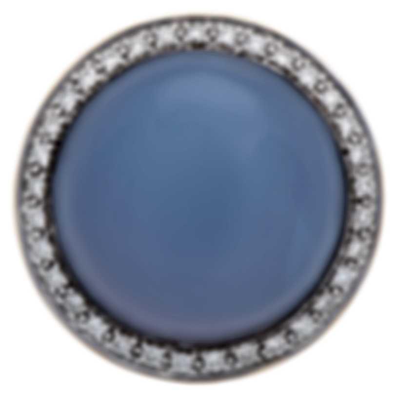 Mimi Milano 18k Yellow Gold Diamond And Chalcedony Ring Sz 6.75 A150C820B;S53
