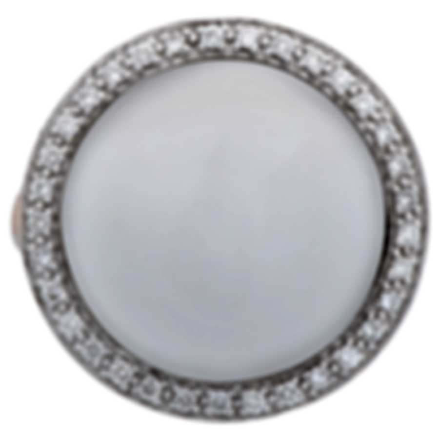 Mimi Milano 18k Rose & White Gold Diamond & Agate Ring Sz 6.25 A150C8A1B;S52