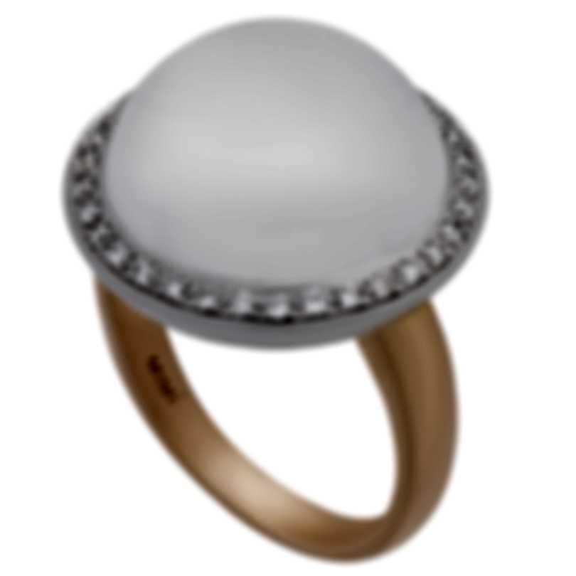 Mimi Milano 18k Rose & White Gold Diamond Crystal Ring Sz6.5 A150C8JB;S54 B-6.5