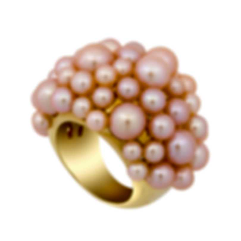 Mimi Milano 18k Yellow Gold Pink Cultured Freshwater Pearl Ring Sz 7.5 A115A2;S55