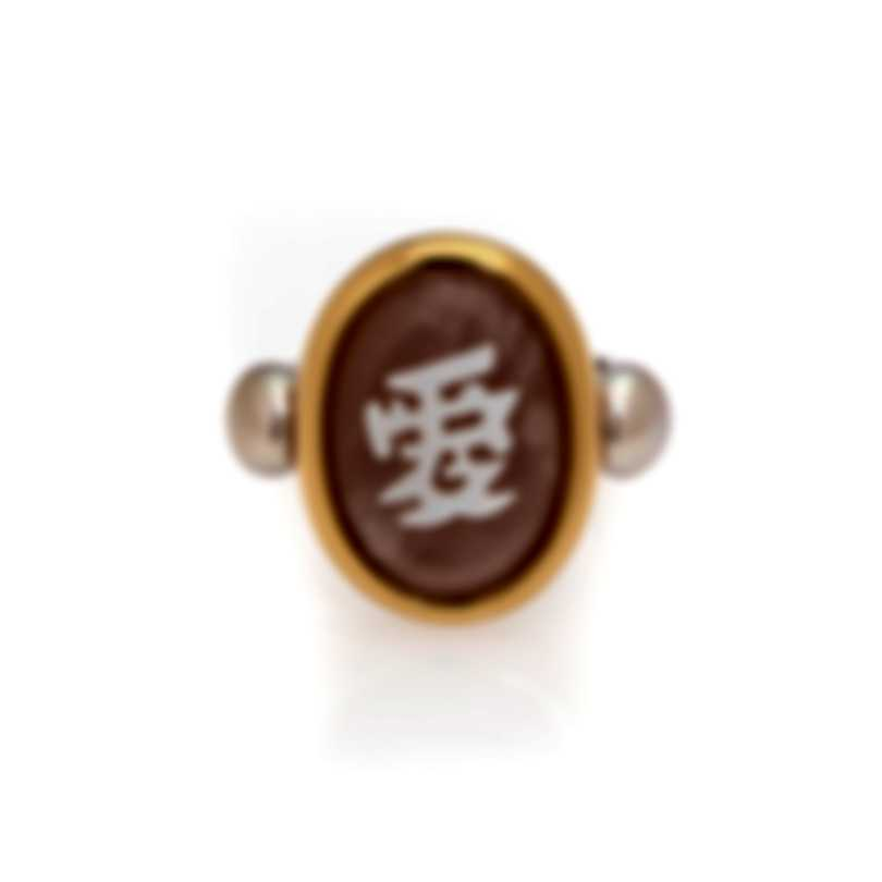 "Mimi Milano Ideogrammi ""Longevity"" 18k Rose & White Gold And Pearl Ring Sz 6.75 A119C17"