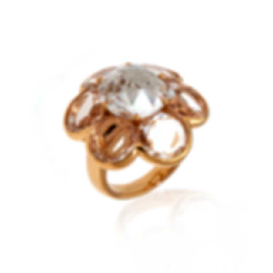 Mimi Milano EN 18k Rose Gold And Rock Crystal Ring Sz 6 A268R8JA
