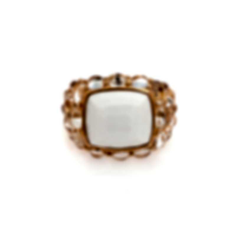 Mimi Milano EN 18k Rose Gold And Rock Crystal Ring Sz 9 A268R8JB