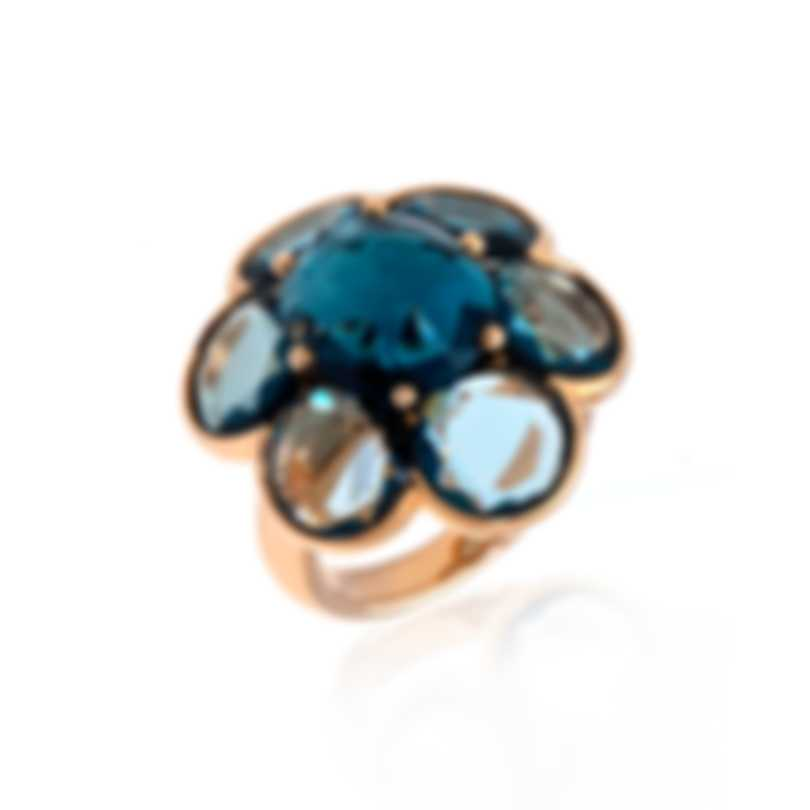 Mimi Milano EN 18k Rose Gold And Blue Topaz Ring Sz 7.5 A268R8T