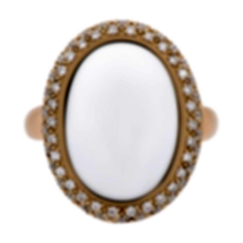 Mimi Milano 18k Rose Gold Diamond And White Agate Ring Sz 6.75 A222C8A1B