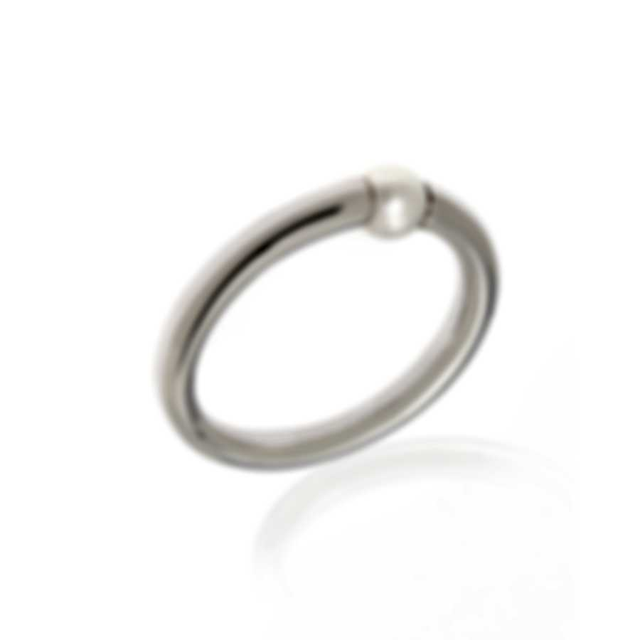 Mimi Milano Nagai Sirenette 18k White Gold And Pearl Ring Sz 6.25 A364B1-625