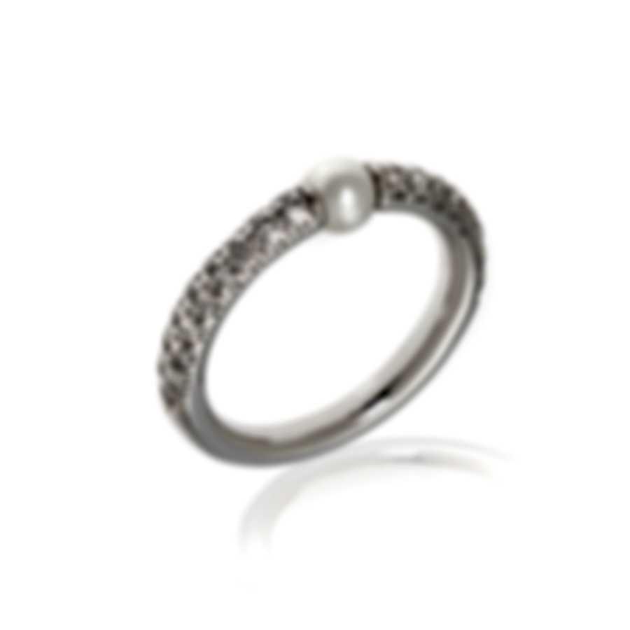 Mimi Milano Nagai Sirenette 18k White Gold Diamond & Pearl Ring Sz 5.75 A364B1B