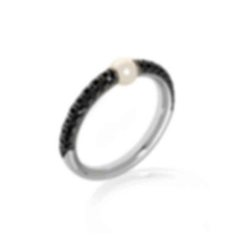 Mimi Milano Nagai Sirenette 18k White Gold Diamond & Pearl Ring Sz 6.5 A364B1N