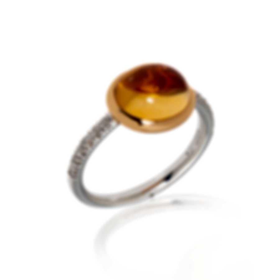Mimi Milano Leela 18k Rose & White Gold Diamond & Citrine Ring Sz 7.25 A317C8CB
