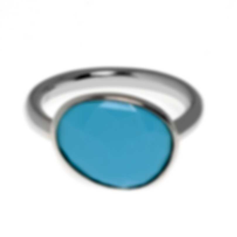Mimi Milano Talita 18k White Gold And Turquoise Ring Sz 6.5 A327B819