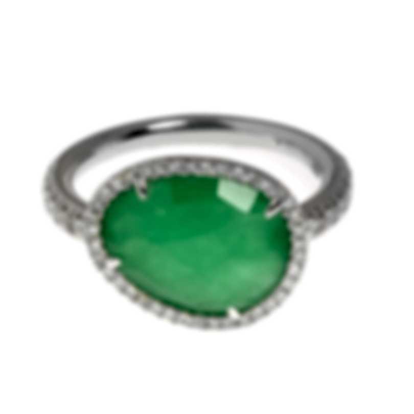 Mimi Milano Talita 18k White Gold Diamond 0.34ct And Jade Ring Sz 6.75 A327B8GB