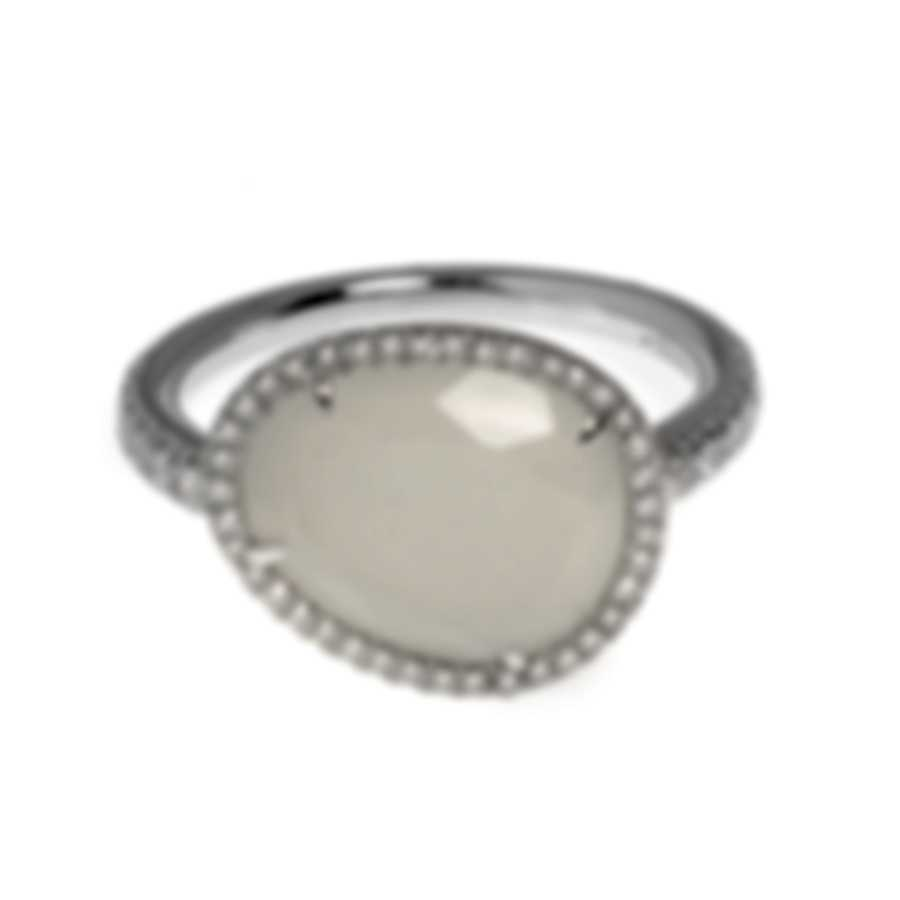 Mimi Milano Talita 18k White Gold Diamond .34ct Moonstone Ring Sz 6.25 A327B8MSB