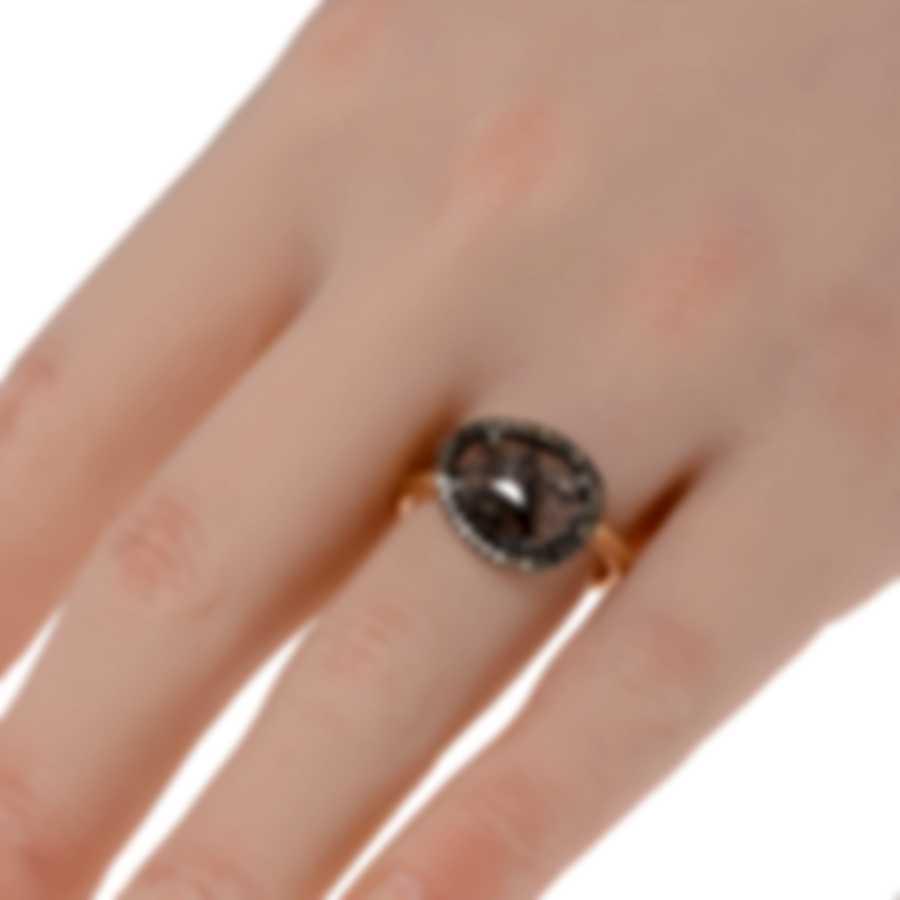 Mimi Milano Talita 18k White Rose Gold Diamond .20ct Rutile Ring Sz8.5 A327C8Q5M