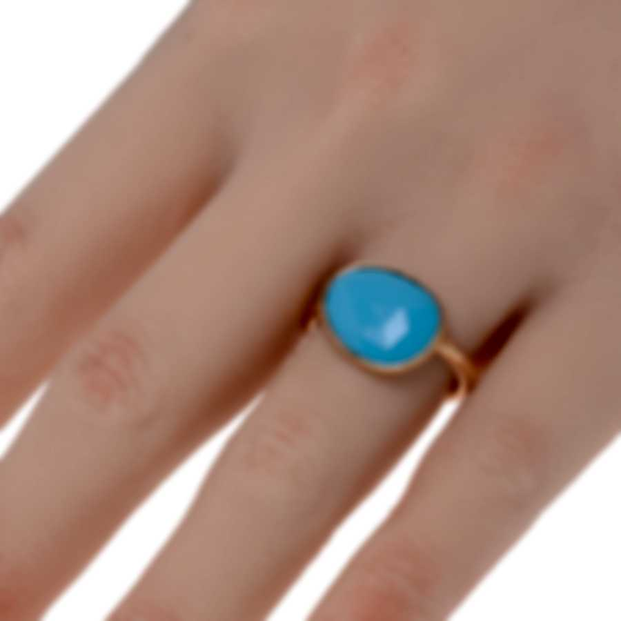 Mimi Milano Talita 18k Rose Gold And Turquoise Ring Sz 6.25 A327R819
