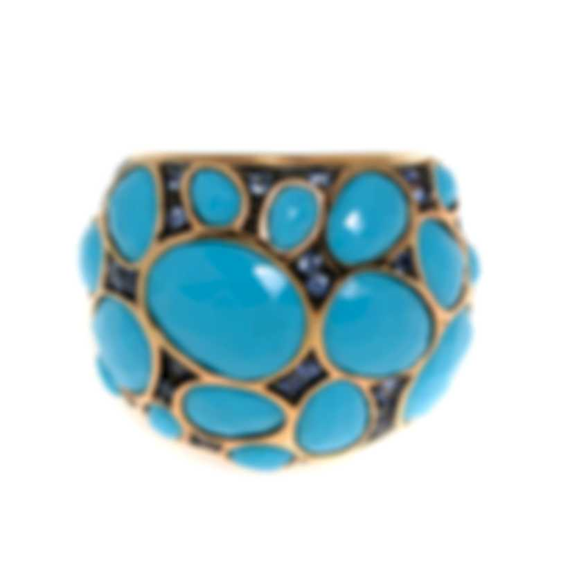 Mimi Milano Talita 18k Rose Gold And Turquoise Ring Sz 7 A324R819Z