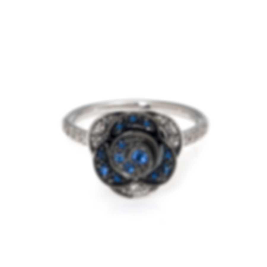Mimi Milano Rose 18k White Gold Diamond 0.37ct & Sapphire Ring Sz 6.75 A449B8ZB