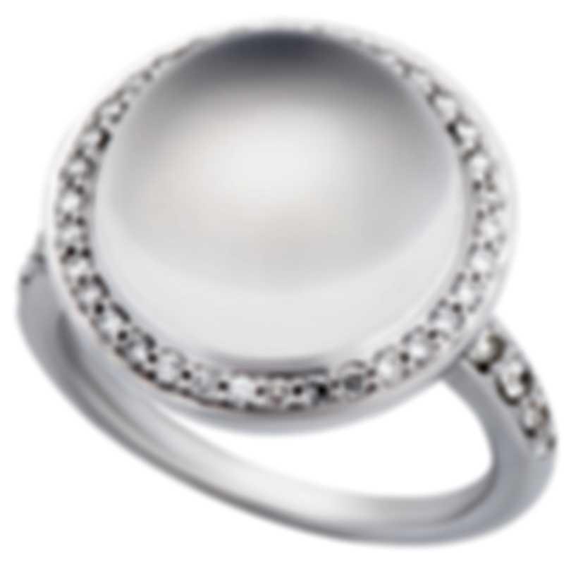 Mimi Milano 18k White Gold Diamond And Milky Quartz Ring Sz 7.25 A458B8QLB;S55B