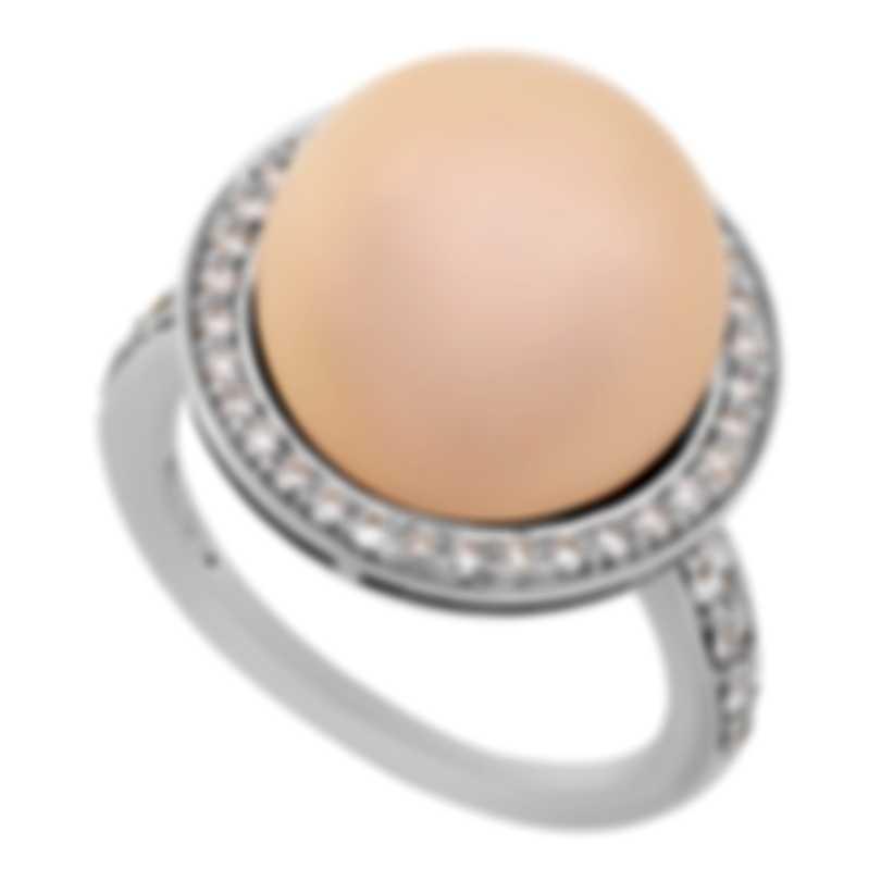 Mimi Milano 18k White Gold Diamond & Pink Cultured Pearl Ring Sz 6.5 A458B2B;S51