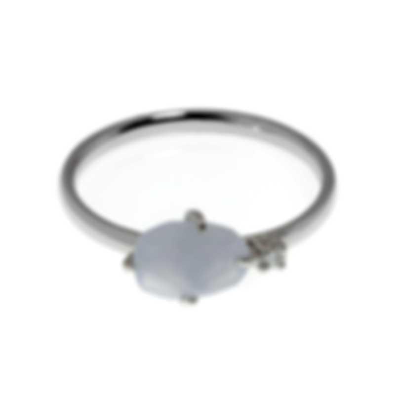Mimi Milano Mila 18k White Gold Diamond 0.04ct And Chalcedony Ring Sz 7 A574B8DB