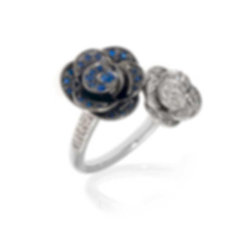 Mimi Milano Rose 18k White Gold Diamond 0.52ct & Sapphire Ring Sz 7 A507B8ZB-7