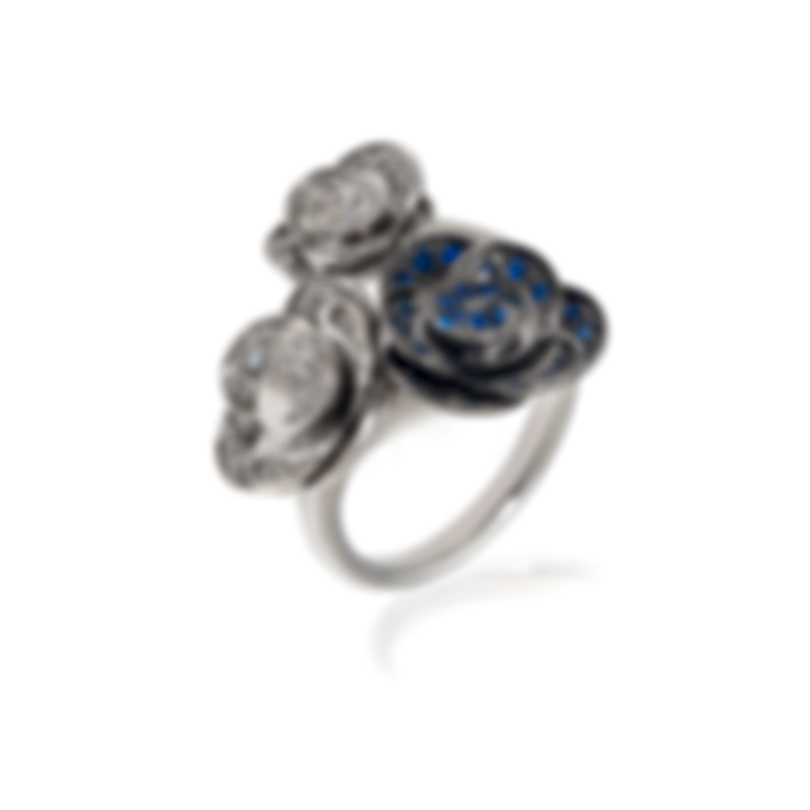 Mimi Milano Rose 18k White Gold Diamond 0.37ct And Sapphire Ring Sz 7 A506B8ZB