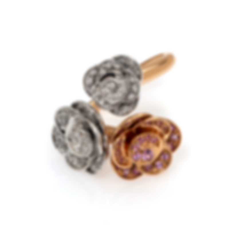 Mimi Milano 18k Rose & White Gold Diamond 1.11ct & Sapphire Ring Sz7 A506C8BZ2
