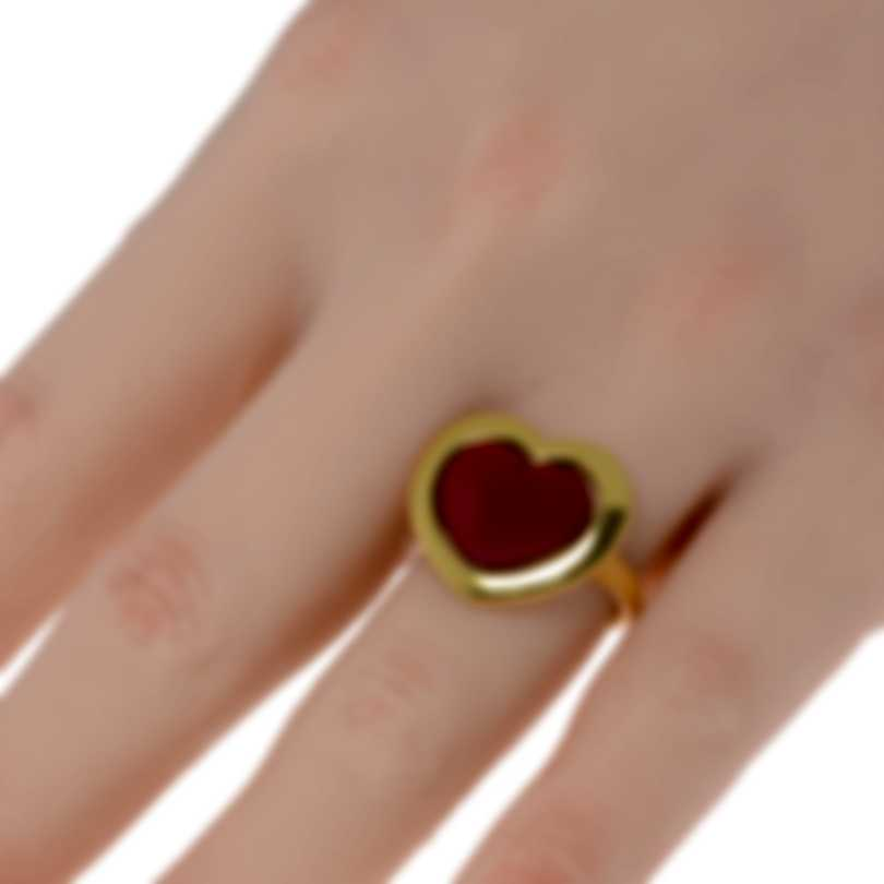 Mimi Milano Giulietta E Romeo 18k Yellow Gold And Orange Paste Ring Sz 6.25 ALM308G8P8