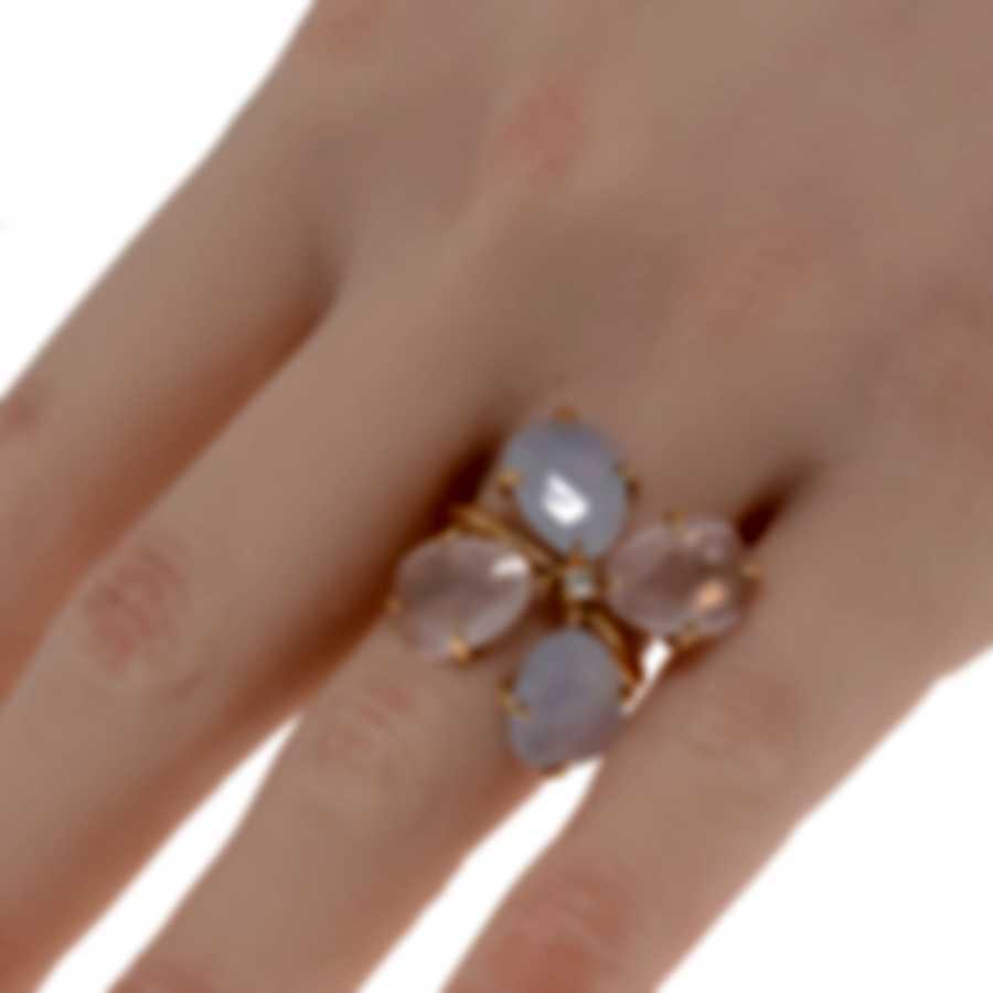 Mimi Milano Mila 18k Rose Gold Diamond 0.04ct Calcedony Ring Sz 6.25 AX900R8QDB