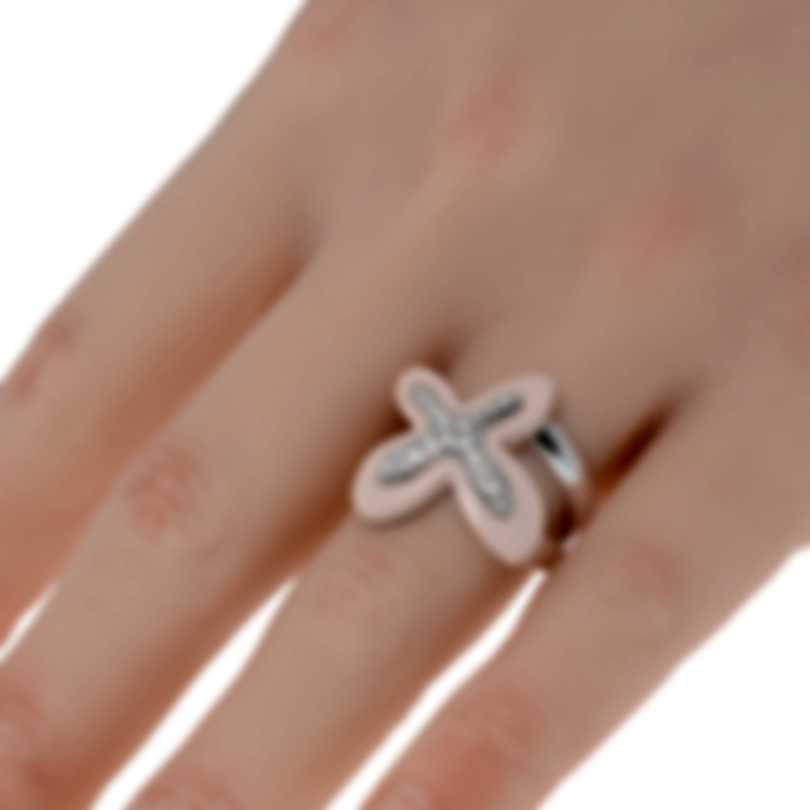 Mimi Milano Freevola 18k White Gold Diamond 0.30ct Coral Ring Sz 6.5 AXM252B8P2B