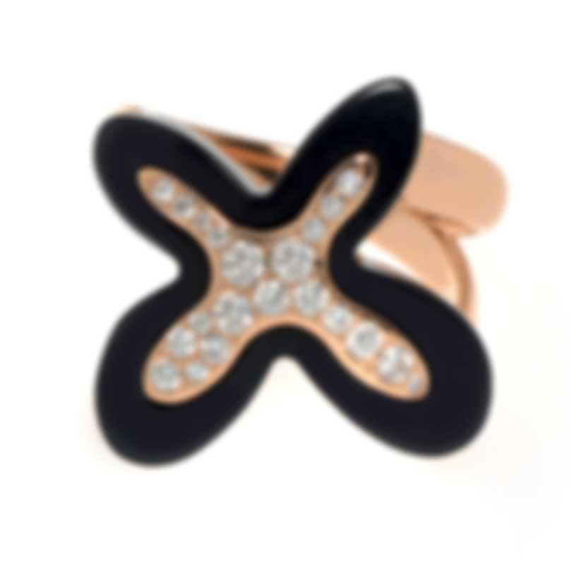 Mimi Milano Freevola 18k Rose Gold Diamond 0.35ct And Onyx Ring Sz 7 AXM252R8OB