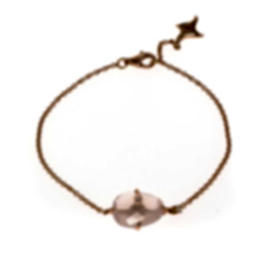 Mimi Milano Mila 18k Rose Gold Diamond 0.04ct And Pink Quartz Bracelet B578R8QB