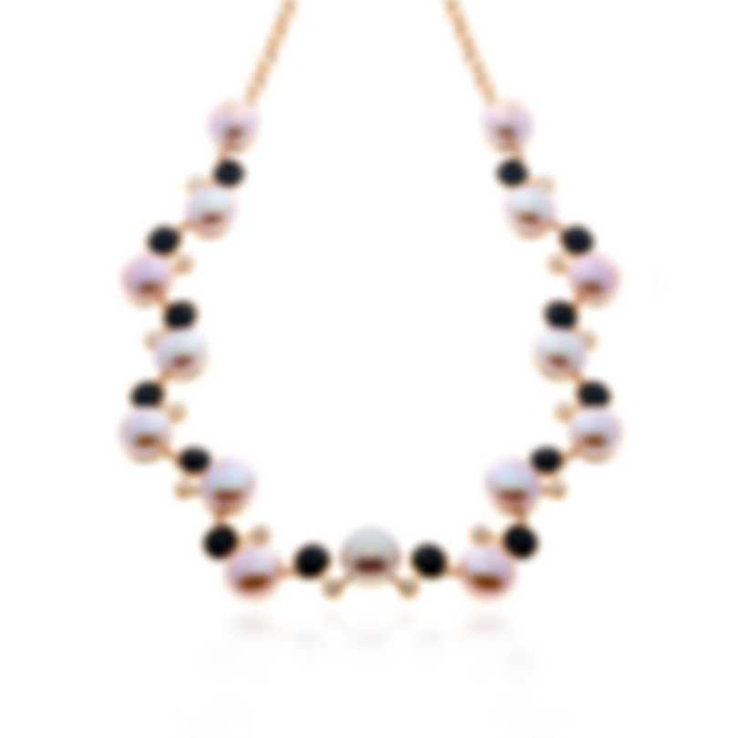 Mimi Milano EN 18k Rose Gold Diamond 0.73ct And Pearl Necklace C236R3OB