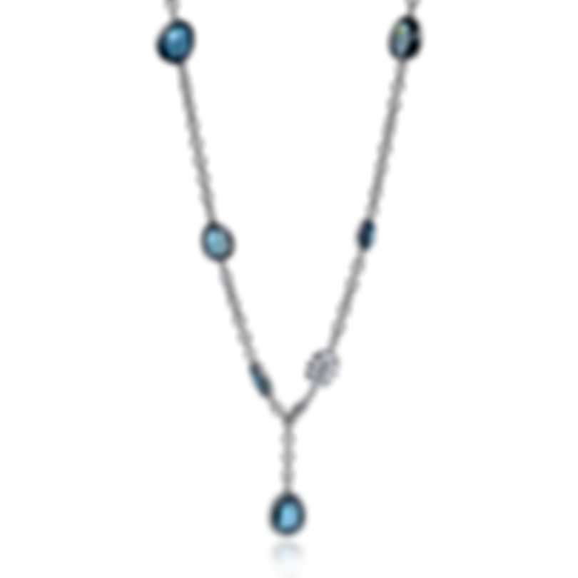 Mimi Milano Talita 18k White Gold Diamond 0.80ct And London Blue Topaz Necklace C325B8AB