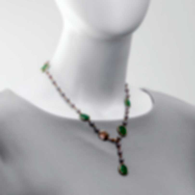 Mimi Milano Talita 18k Rose Gold And Green Jade Necklace C325R3G