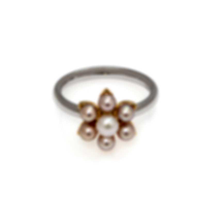 Mimi Milano Fiori 18k White & Yellow Gold And Pearl Ring Sz 6.5 FA01DB03