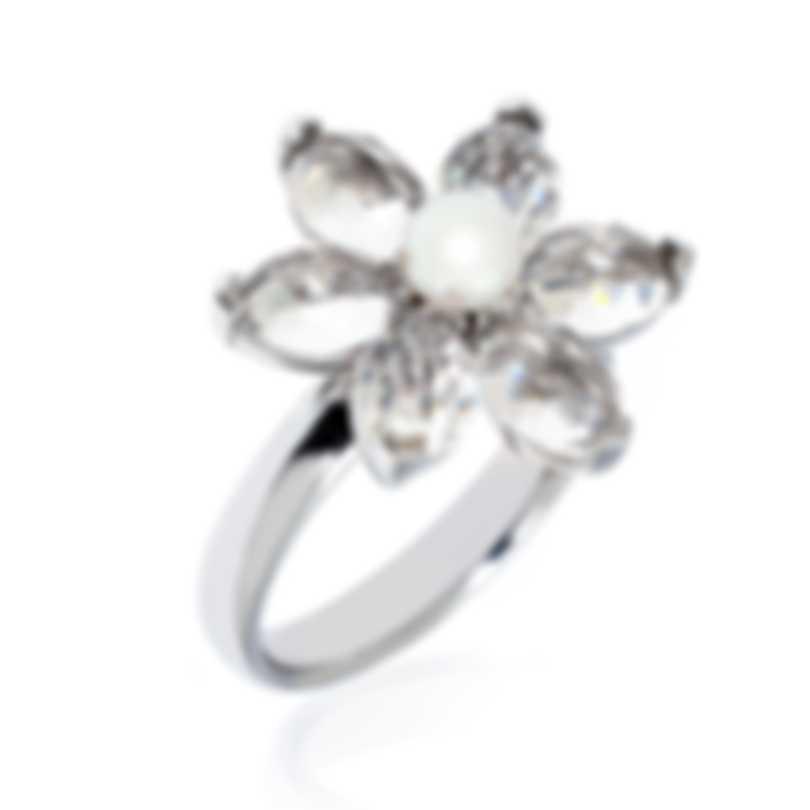 Mimi Milano Fiori 18k White Gold And Pearl Ring Sz 7.25 FA102B1J-725
