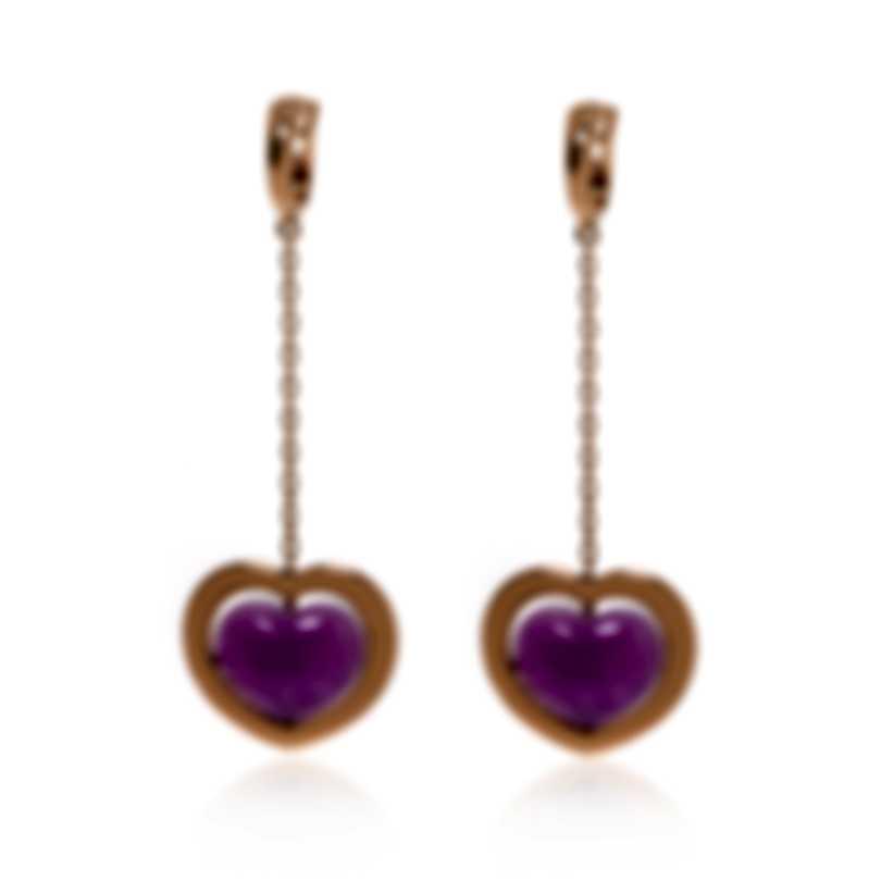 Mimi Milano Giulietta E Romeo 18k Rose Gold And Fuchsia Quartzite Earrings OLM308R8Q10