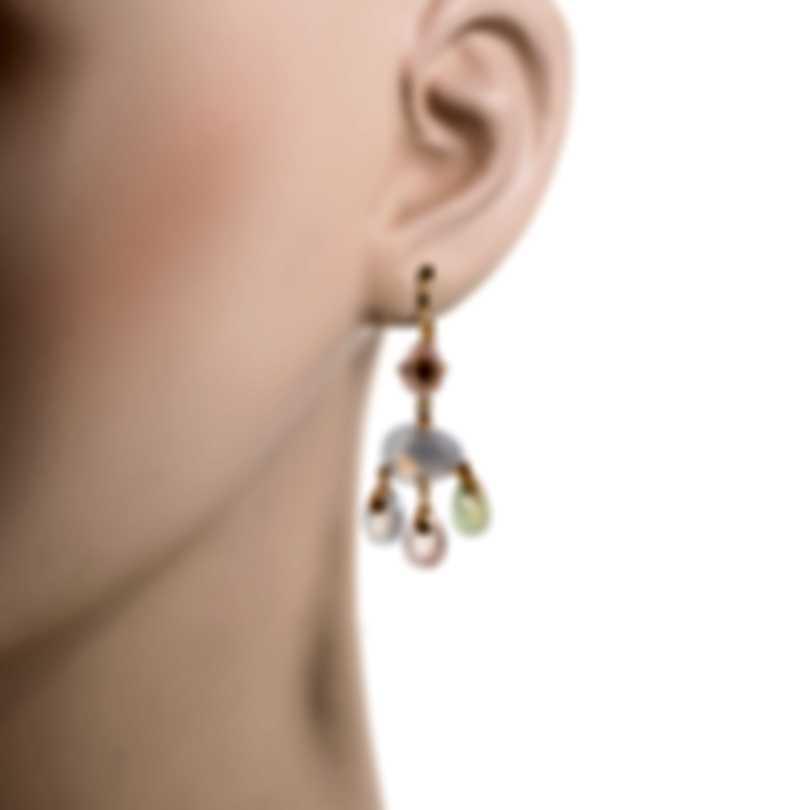 Mimi Milano Mila 18k Rose Gold Diamond 0.06ct And Chalcedony Earrings OX570R8XB