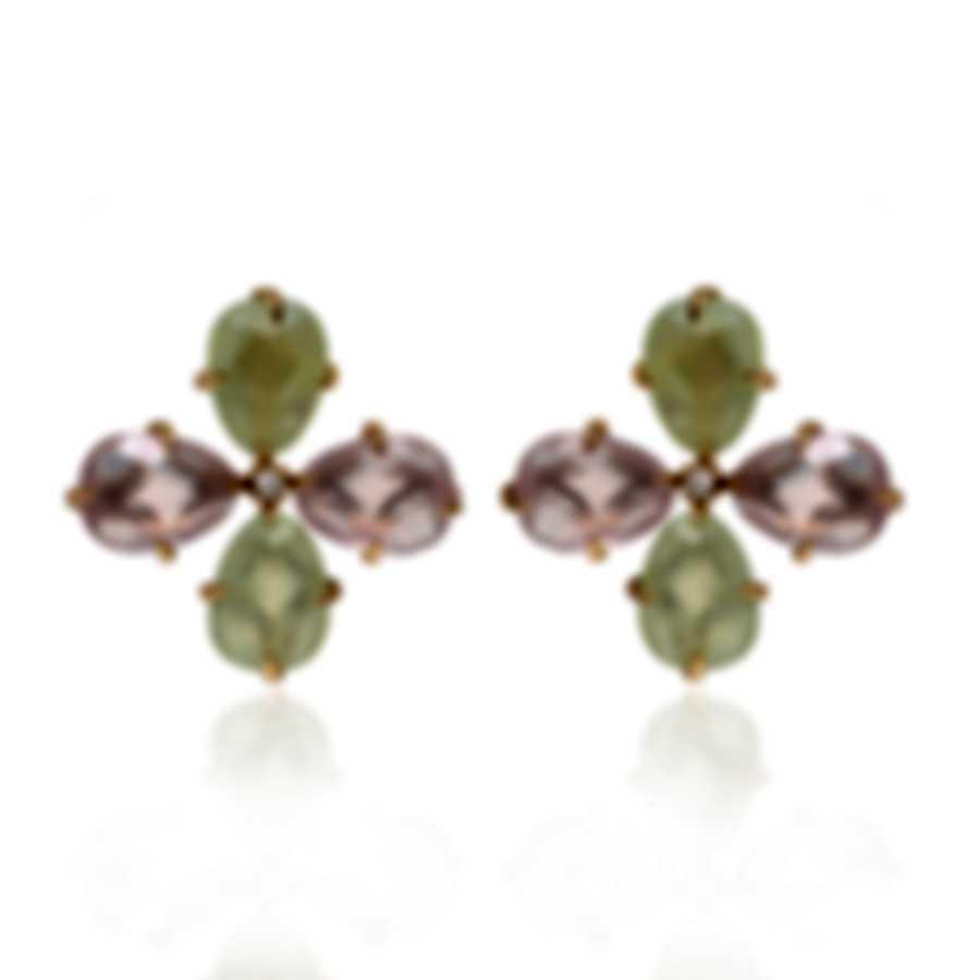Mimi Milano Mila 18k Rose Gold Diamond 0.08ct Rose Quartz Earrings OX900R8QD7B