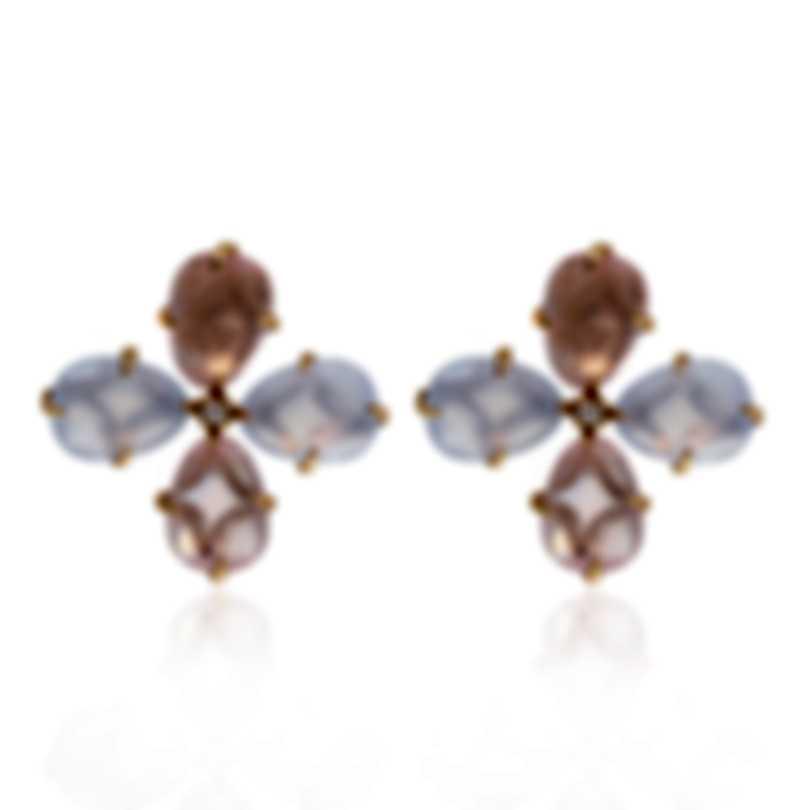 Mimi Milano Mila 18k Rose Gold Diamond 0.08ct And Chalcedony Earrings OX900R8QDB