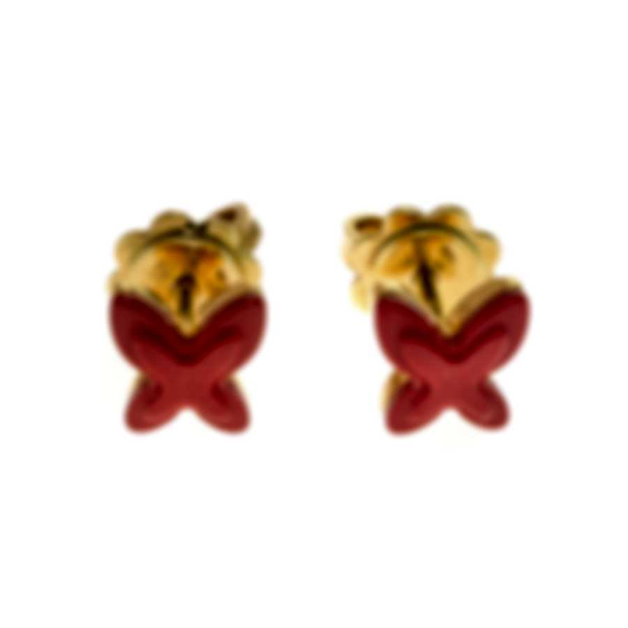 Mimi Milano Freevola 18k Yellow Gold And Coral Paste Earrings OXM242G8P8