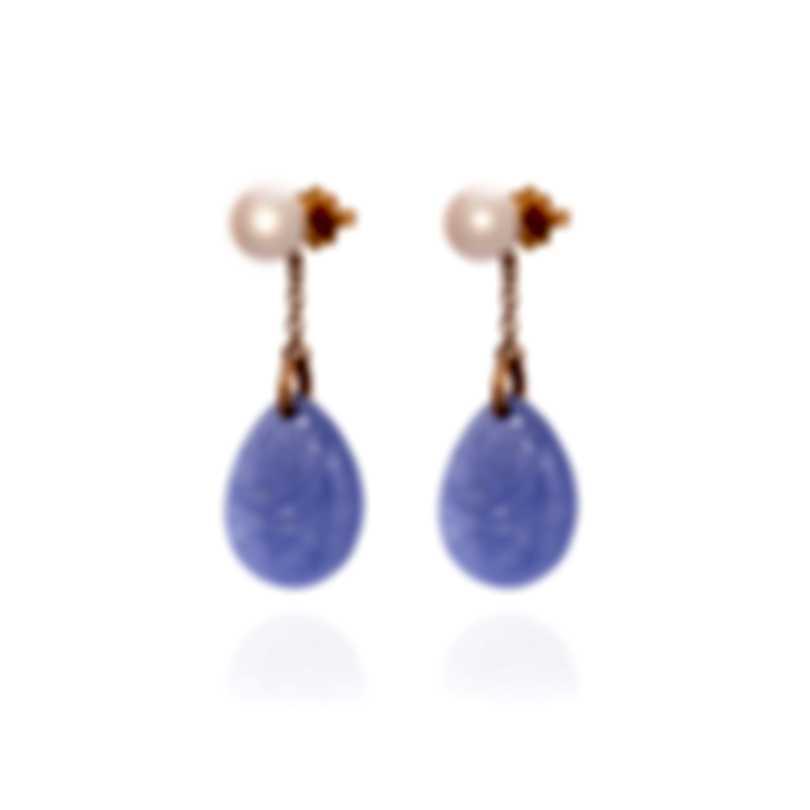 "Mimi Milano Ideogrammi ""Soul"" 18k Rose Gold And Jade Earrings O155RL3"